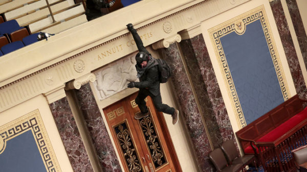 Rioter dangles from gallery in US Senate Chamber